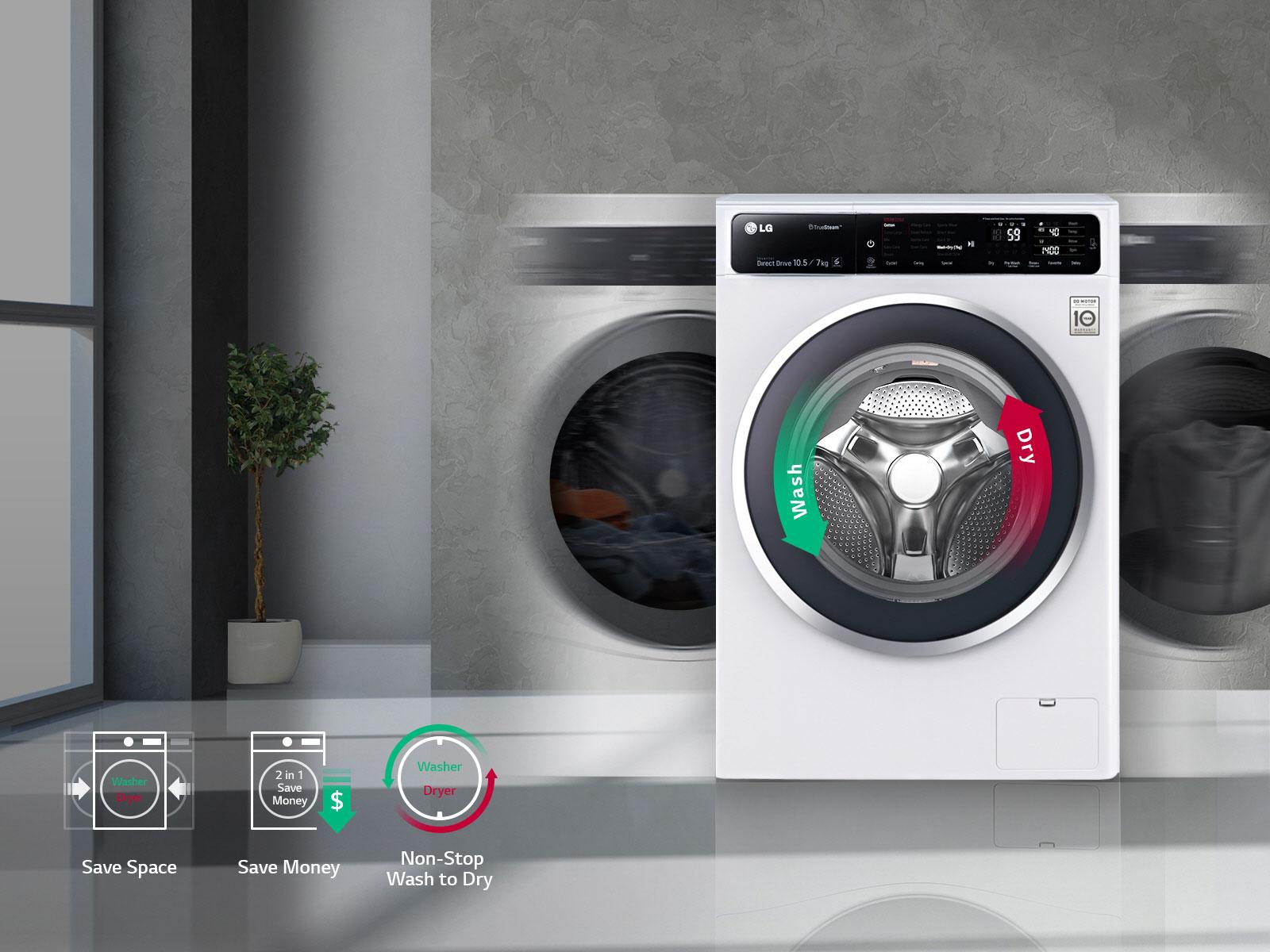 ماشین لباسشویی ال جی مدل WM-1057CW ظرفیت 10.5 کیلوگرم